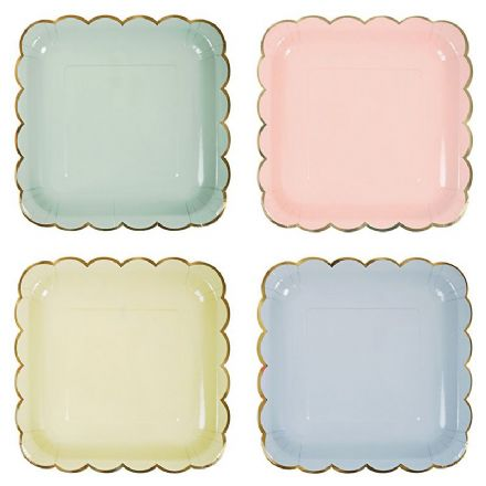 Square Pastel & Gold Paper Plates - Large, pack of 8